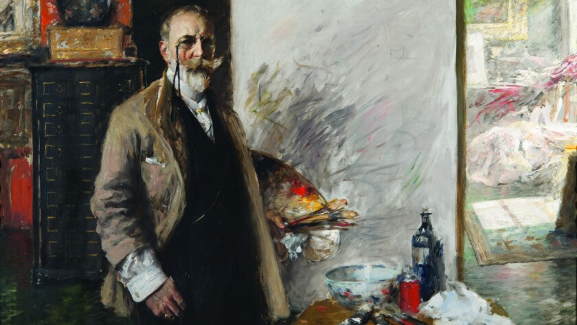 """Detail from William Merritt Chase's """"Self-Portrait in 4th Avenue Studio,"""" 1915-16, on view for a retrospective of the artist's work at the Phillips Collection in Washington, D.C. Full image is below."""
