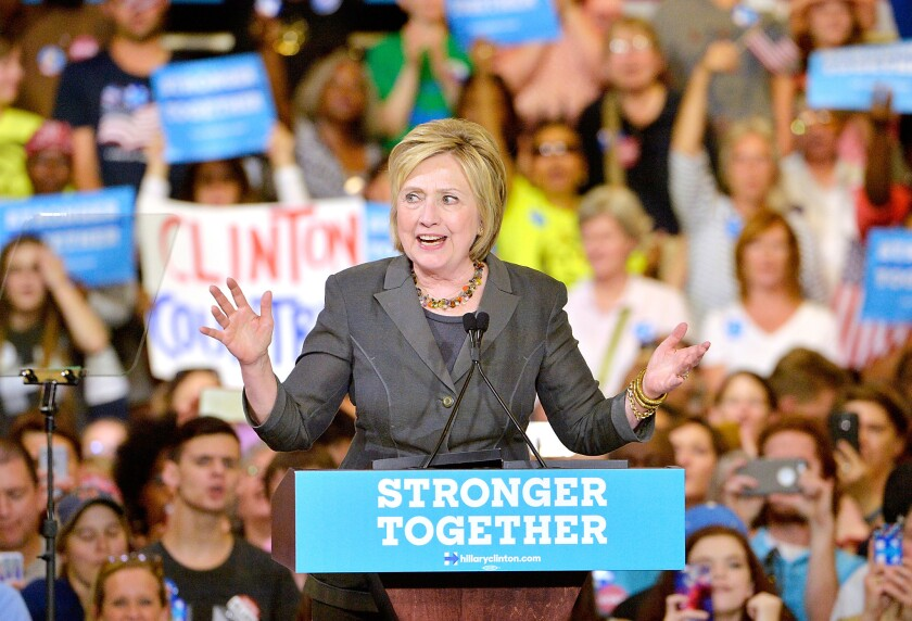 Hillary Clinton at a campaign rally at the North Carolina Fairgrounds in Raleigh.
