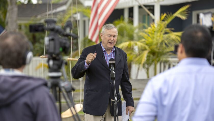 Rep. Dana Rohrabacher speaks during a press conference at his home in Costa Mesa on Monday, April 23