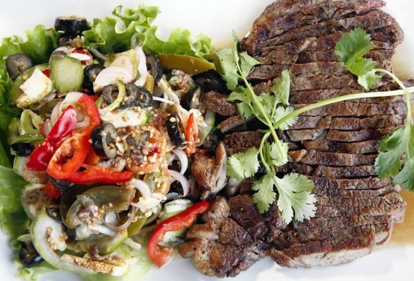 Grilled beef and anchovy salad from Little La Lune Cuisine.