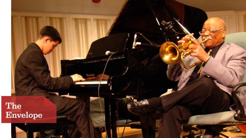 """Pianist Justin Kauflin gets help from 93-year-old trumpet great Clark Terry in """"Keep On Keepin' On."""""""