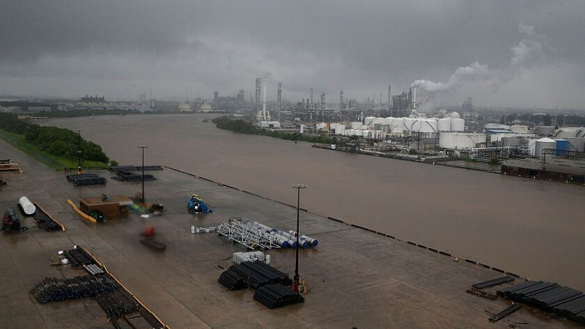 The refinery section of the Houston Ship Channel is seen as floodwaters rise Sunday.