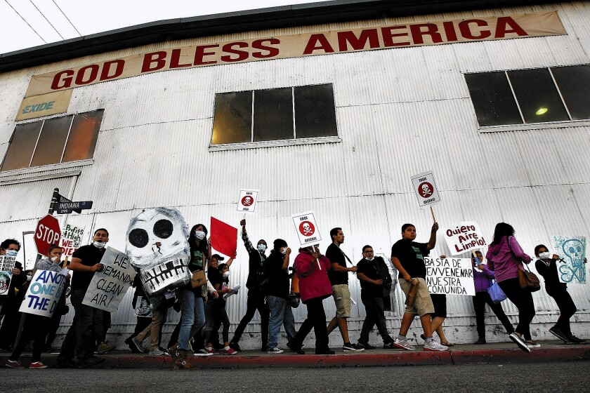 Protesters rally at the Exide Technologies facility in Vernon last October.