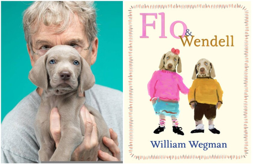 """A photo of author William Wegman and the cover of his book """"Flo & Wendell,"""" in which Wegman combines watercolor painting with photographs of his Weimaraners."""