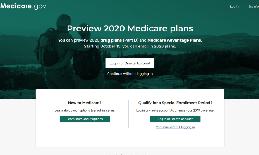 A screenshot of the Medicare website's Plan Finder, which aims to make choosing a health plan easier.