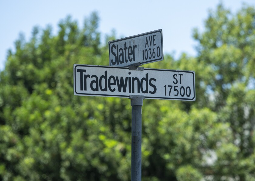 A  woman was found dead in her car near the intersection of Slater Avenue and Tradewinds Street in Fountain Valley  July 19.