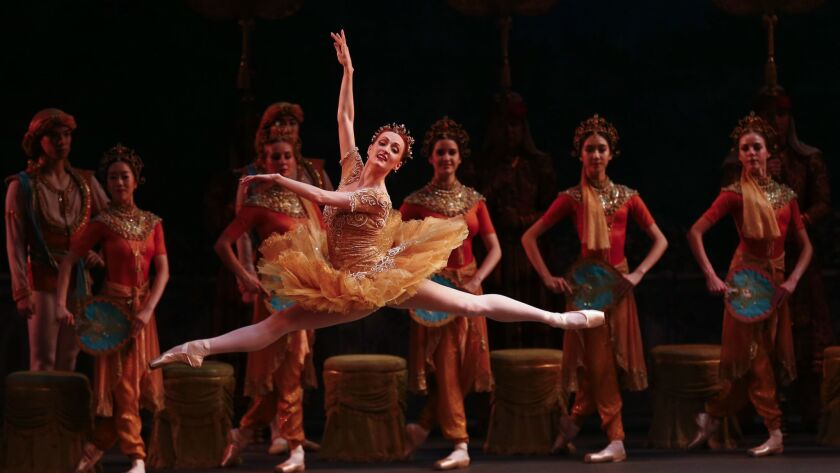 """LOS ANGELES, CALIF. - JULY 14: Gillian Murphy as """"Gamzatti,"""" and the American Ballet Theatre perform"""