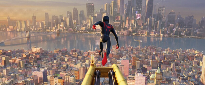 """This image released by Sony Pictures Animations shows a scene from """"Spider-Man: Into the Spider-Vers"""