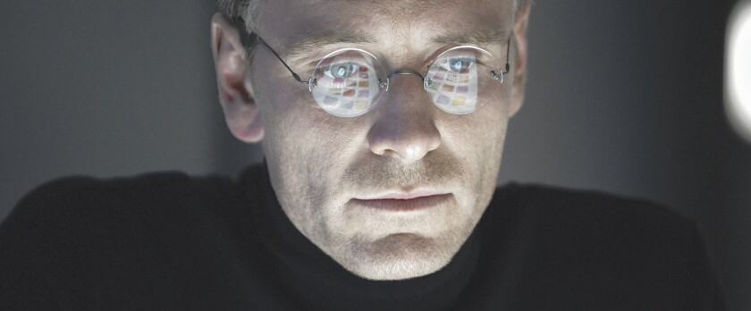 Michael Fassbender stars as Steve Jobs in a scene from the new film about the Apple co-founder. It's an impressionistic biopic, a new genre of movie that openly blends truth and fiction.