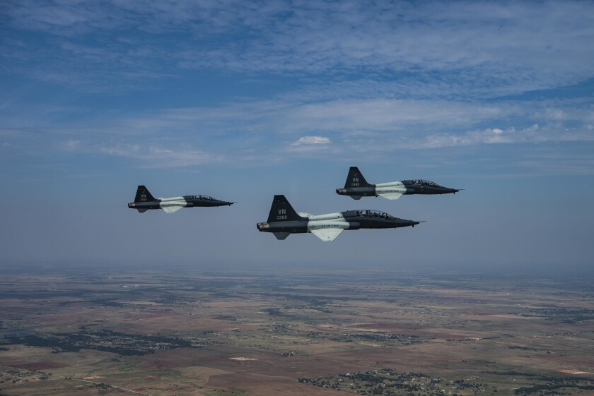 Pilots from the Vance Air Force Base in Oklahoma fly T-38C Talons on July 26, 2019.