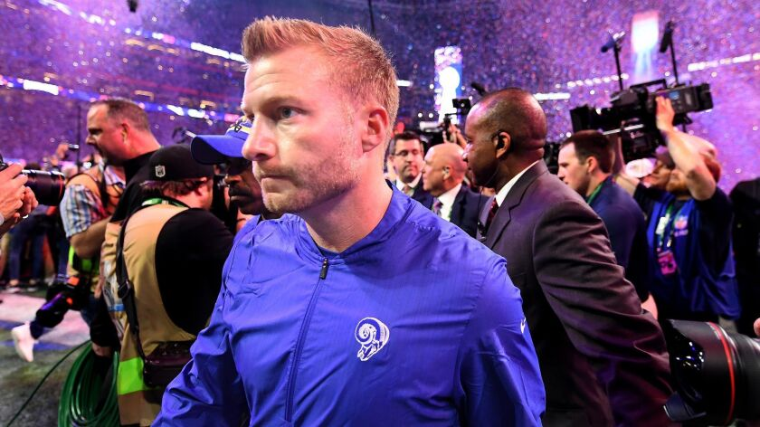 Coach Sean McVay, walking off the field after the Rams lost 13-3 to New England in Super Bowl LIII, believes the team will learn from the experience and bounce back from the setback.