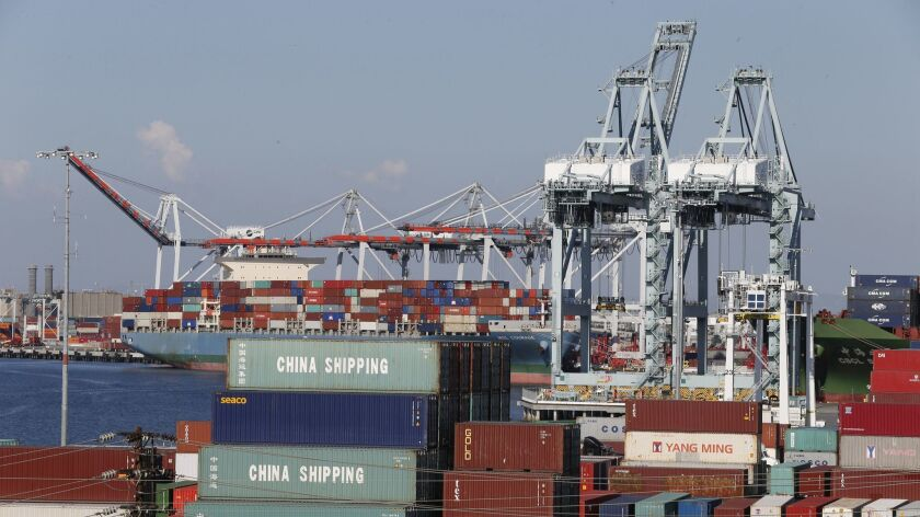 A view of operations at the China Shipping terminal in Port of Los Angeles in Los Angeles, Calif., on Oct. 13, 2015.