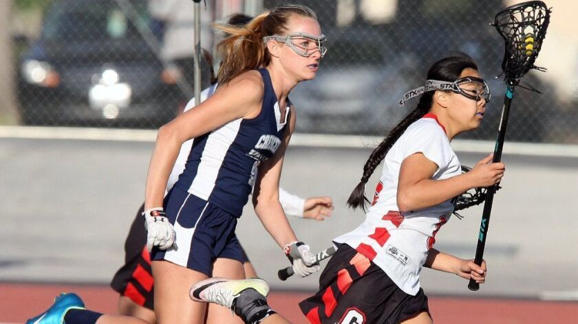 Glendale's Rachel Fong, right, was named to the Pacific League girls' lacrosse first team.
