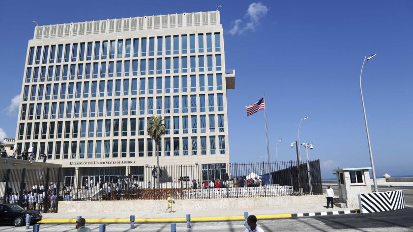 FILE - This Aug. 14, 2015 file photo shows the U.S. embassy in Havana, Cuba. Cuba released details S