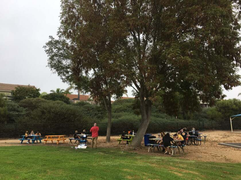 An outdoor classroom in use at Flora Vista Elementary School.