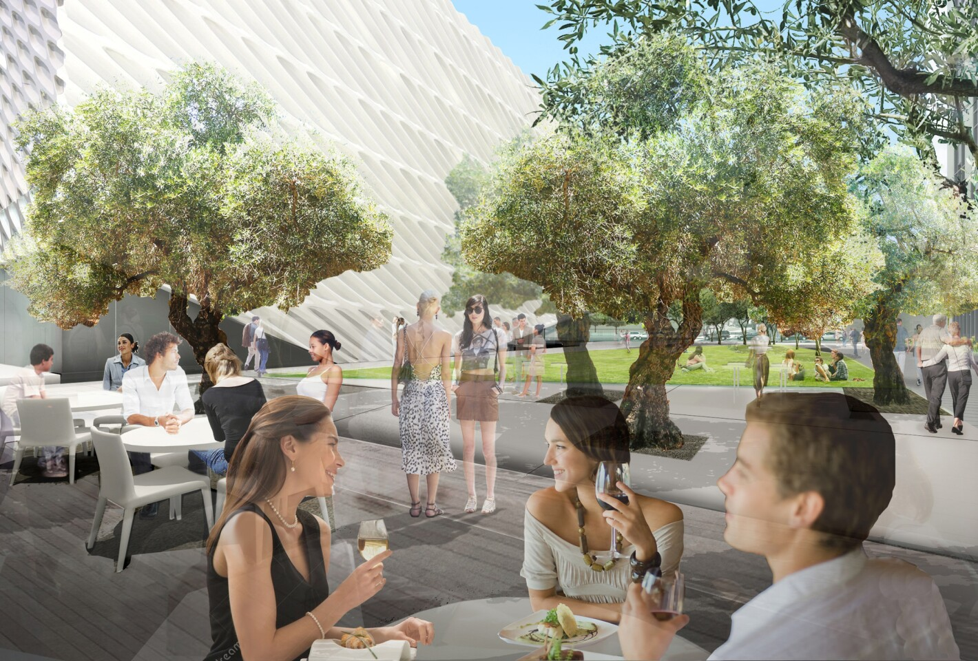 A new restaurant adjacent to The Broad will anchor the Hope Street end of the public plaza and feature outdoor dining that overlooks the open lawn and grove of 100-year-old Barouni olive trees.
