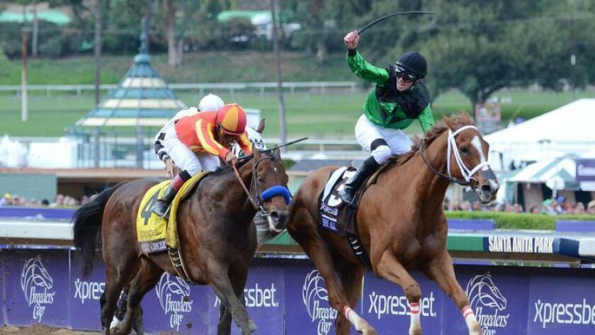 Secret Circle (outside) in the 2014 $1.5 million Xpressbet Breeders' Cup Sprint by Work All Week. The event was held at Santa Anita Park in Arcadia.