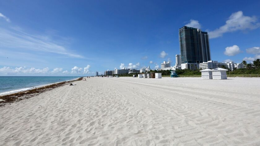The beaches are nearly empty in Miami Beach in advance of Hurricane Irma.