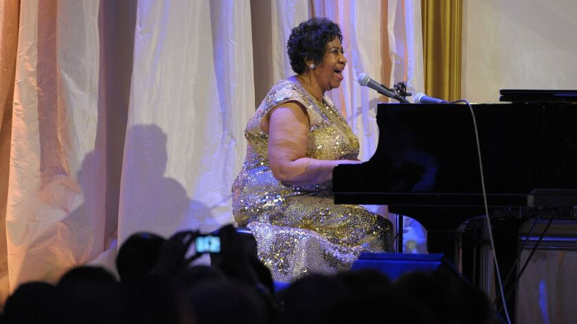 Aretha Franklin sings for the crowd at the National Portrait Gallery gala on Nov. 15, 2015 in Washington.
