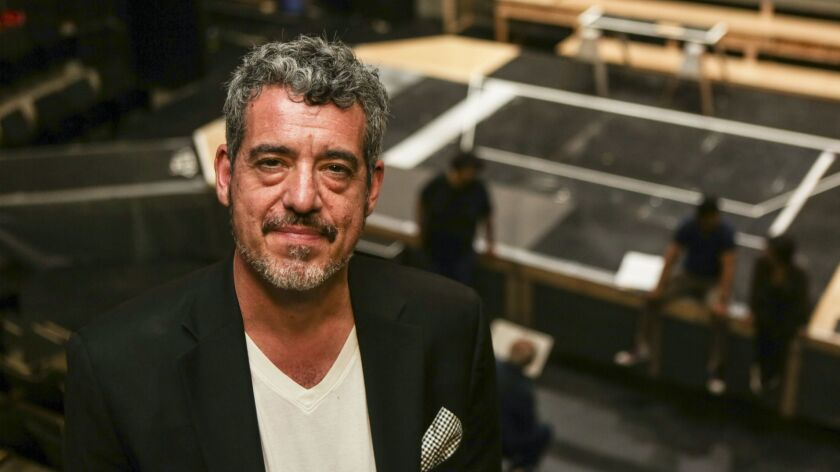 """Playwright Oliver Mayer at Los Angeles Theatre Center, where his play """"Members Only"""" is being staged by the Latino Theater Company."""
