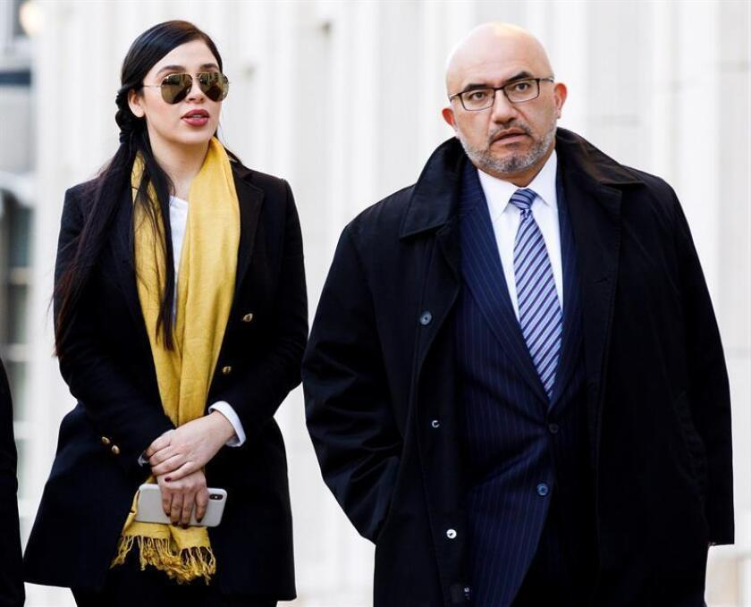 """The wife of Joaquin """"Chapo"""" Guzman, Emma Coronel Aispuro (L), and lawyer Angel Eduardo Balarezo (R) leave the Federal Court of the United States after the first day of deliberations of the jury in the case of """"Chapo"""", On Feb. 2, 2019, in Brooklyn, New York. EPA-EFE / Justin Lane"""