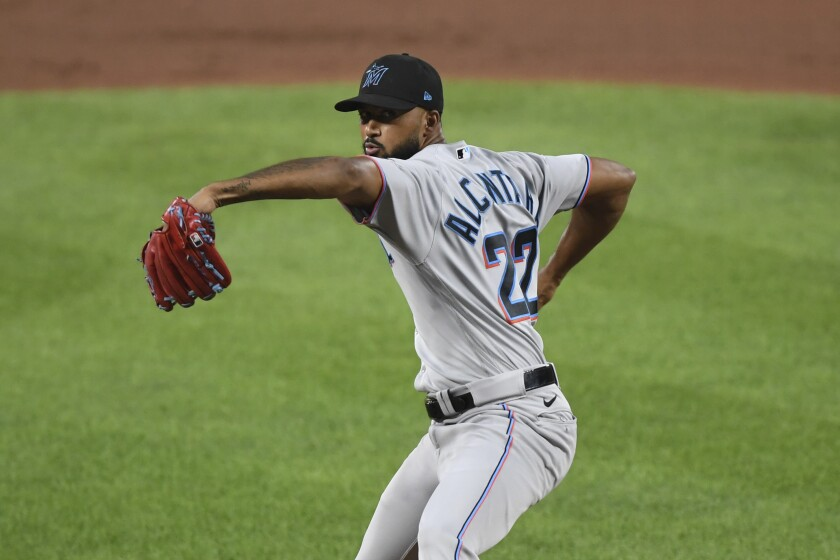 Miami Marlins starting pitcher Sandy Alcantara (22) throws during the fifth inning of the team's baseball game against the Baltimore Orioles on Tuesday, July 27, 2021, in Baltimore. (AP Photo/Terrance Williams)
