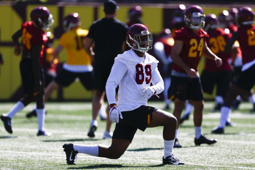 USC defensive lineman Christian Rector participates in drills at fall camp.