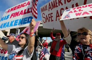Travel ban: Supporters and opponents square off at LAX