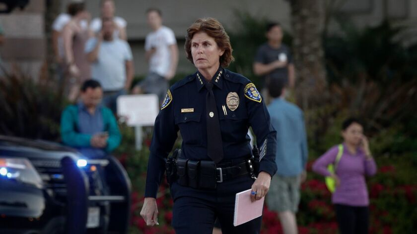 San Diego Police Department Chief Shelley Zimmerman arrives Sunday, April 30, 2017 at the corner of