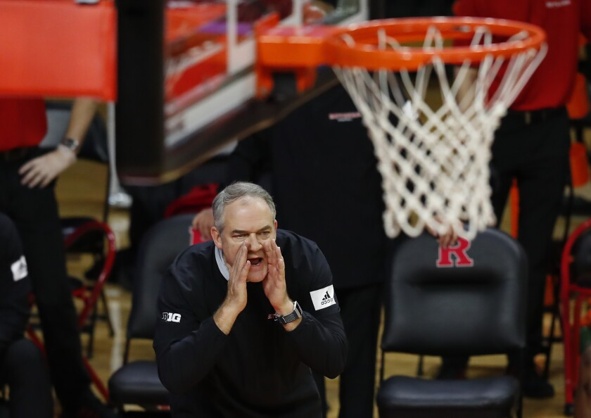 Rutgers head coach Steve Pikiell shouts during the second half of an NCAA college basketball game against Iowa in Piscataway, N.J., Saturday, Jan. 2, 2021. (AP Photo/Noah K. Murray)