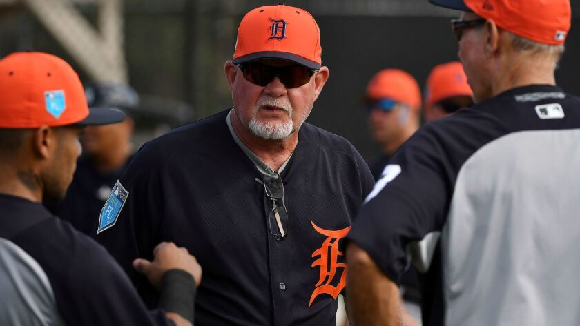 Detroit Tigers manager Ron Gardenhire is seen at the start of infield drills during spring training