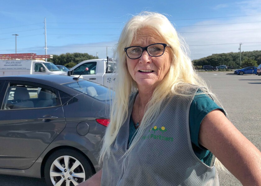 Pam Strickland, 60, a merchandise worker for Lowe's hardware who lives in Kitty Hawk, N.C.
