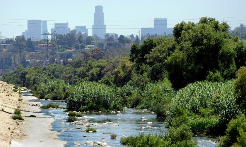 The Los Angeles River leading into the downtown area.