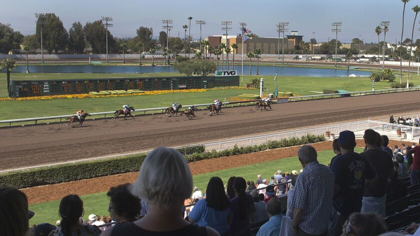 LOS ALAMITOS, CA - JULY 3, 2014: A large crowd of 5,700 attended thoroughbred racing at Los Alamitos