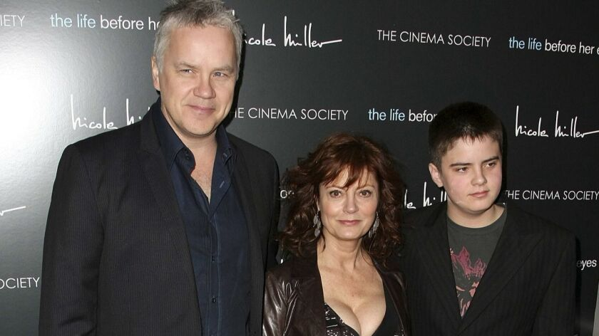 Tim Robbins, Susan Sarandon and son Miles attend a screening in 2008.