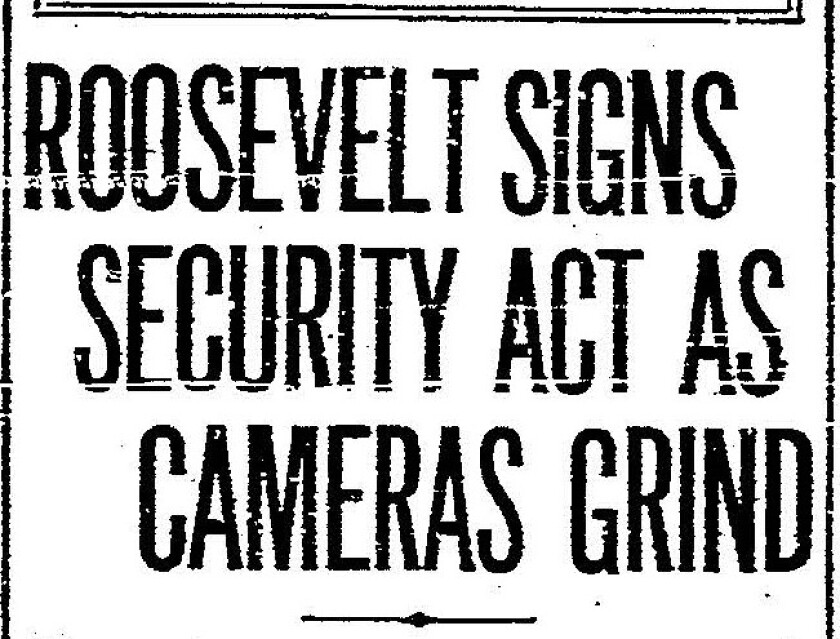 August 15, 1935  Union newspaper front page with Social Security Act headline