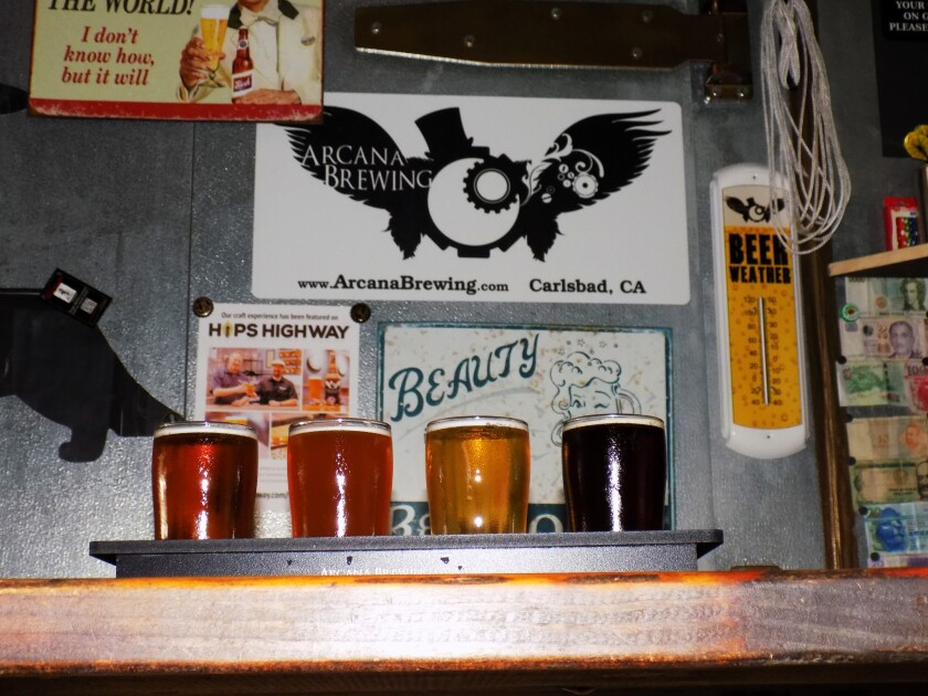 Tasters on tap at Arcana Brewing in Carlsbad, Calif.