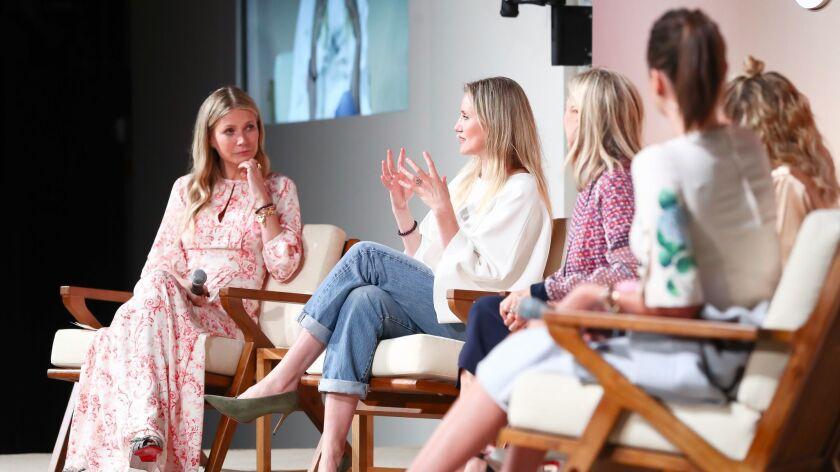 "Gwyneth Paltrow, left, interviews Cameron Diaz, Tory Burch, Nicole Richie and Miranda Kerr on the ""B"