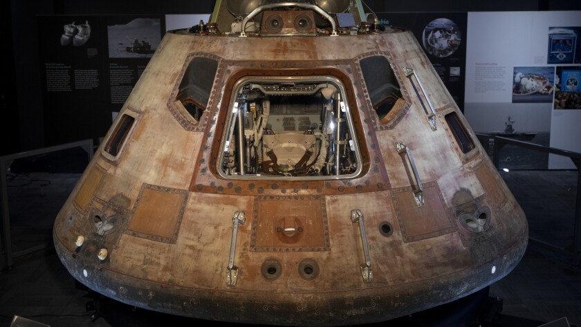 The Apollo 11 command module as seen during the exhibition, Destination Moon: The Apollo 11 Mission,