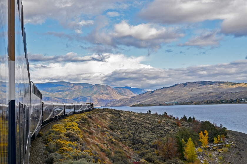 The Rocky Mountaineer train travels between British Columbia and Alberta, Canada.