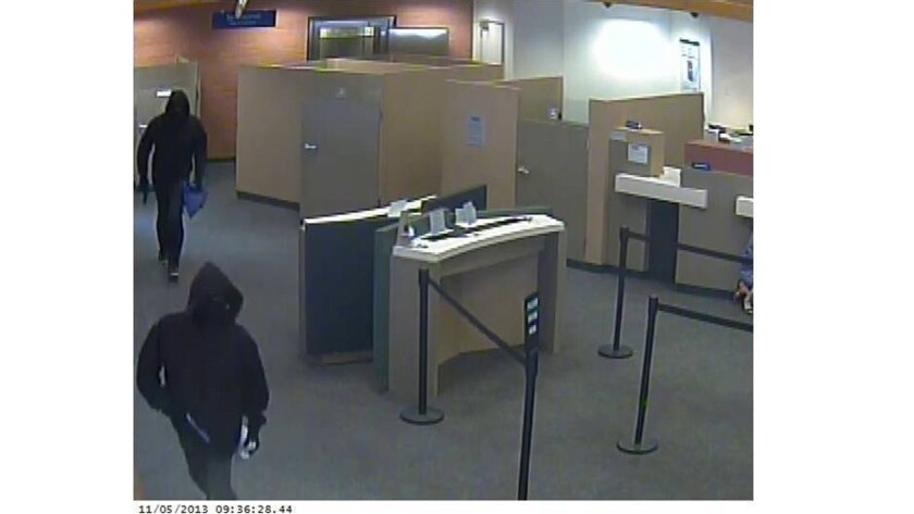 Two masked men carrying guns robbed Citibank at 414 N. Central Ave. in Glendale on Nov. 5, 2013.