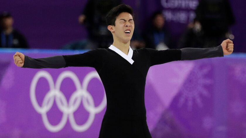 Nathan Chen of the United States reacts following his performance during the men's free figure skati