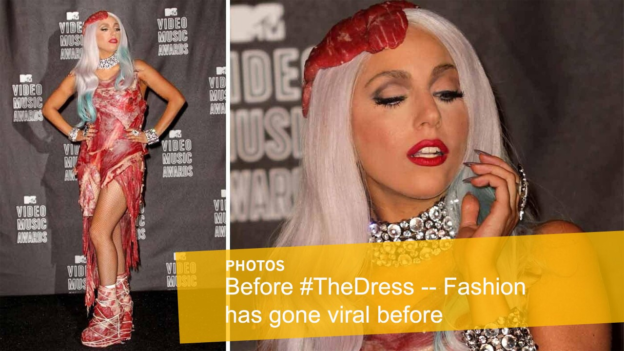 Lady Gaga wore a Franc Fernandez-designed dress made up of raw meat to the 2010 MTV Video Music Awards.