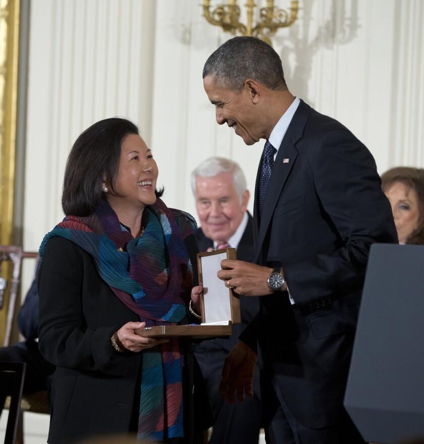 Irene Hirano Inouye with President Obama