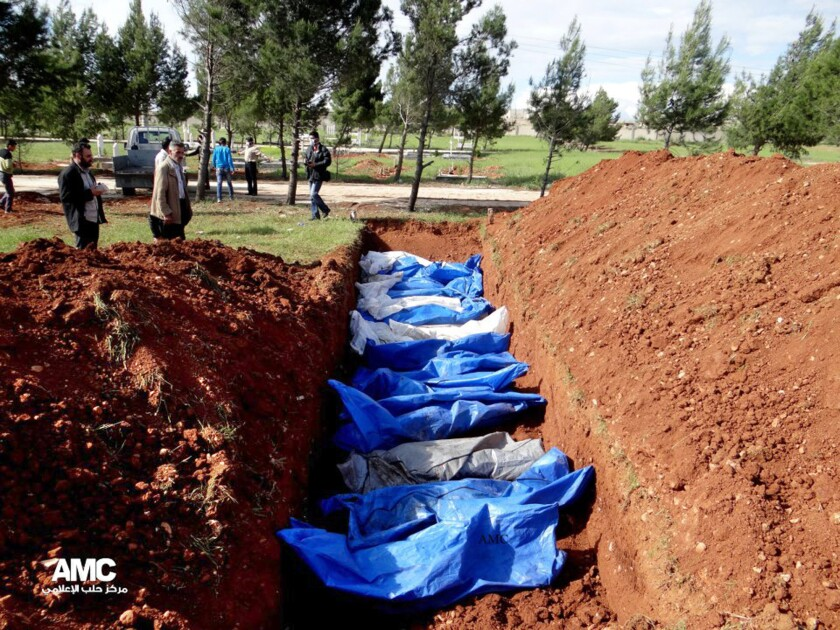 An image provided by opposition activists in April shows a mass grave said to contain the bodies of people killed by Syrian army snipers in Aleppo.