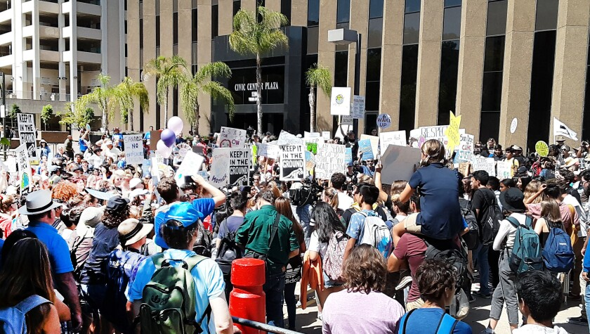 Students fill the Civic Center Plaza in Downtown San Diego for the Global Climate Strike walkouts.