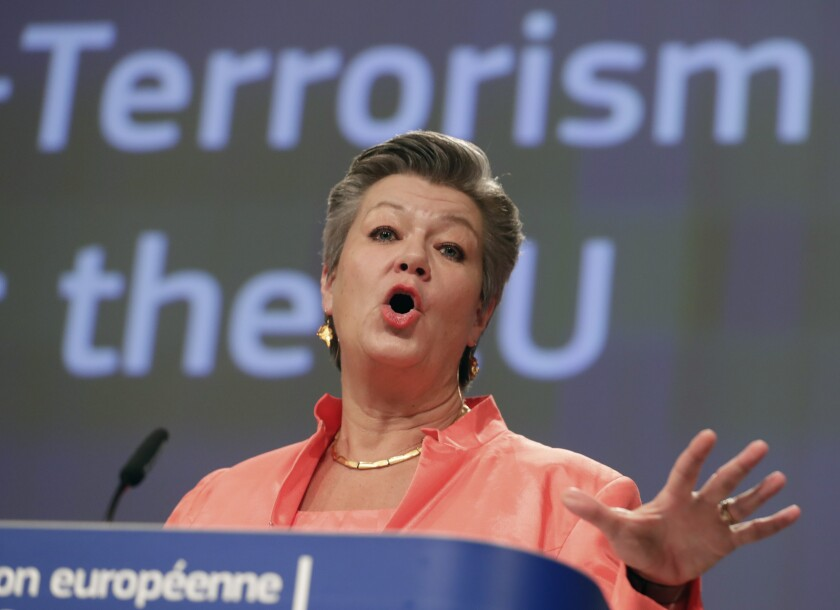 European Commissioner for Home Affairs Ylva Johansson speaks during a media conference at EU headquarters in Brussels, Wednesday, Dec. 9, 2020. The European Commission wants member states to reinforce external border controls and police cooperation to better protect the 27-nation bloc from extremist attacks. (Stephanie Lecocq, Pool via AP)