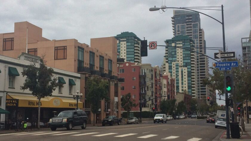 The Horizons Condos in San Diego tower over the Gaslamp District on Monday.