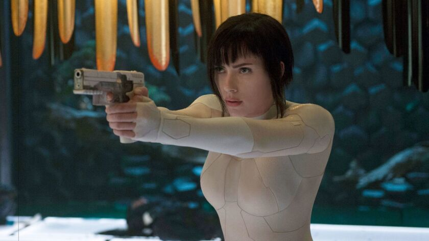"In this image released by Paramount Pictures, Scarlett Johansson appears in a scene from, ""Ghost in"