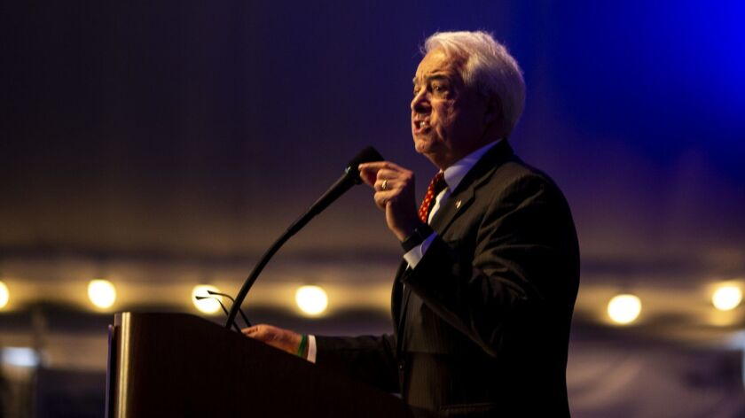 Republican gubernatorial candidate John Cox speaks to delegates at the 2018 California Republican Party Convention and Candidate Fair in San Diego.